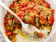 Рецепта Гювеч от тиквички с доматен сос, бекон и пармезан на фурна